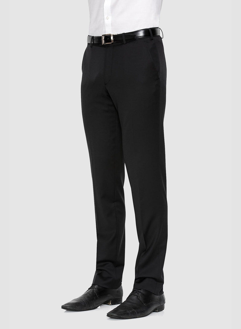 a side view of the cambridge range suit trouser in black pure wool