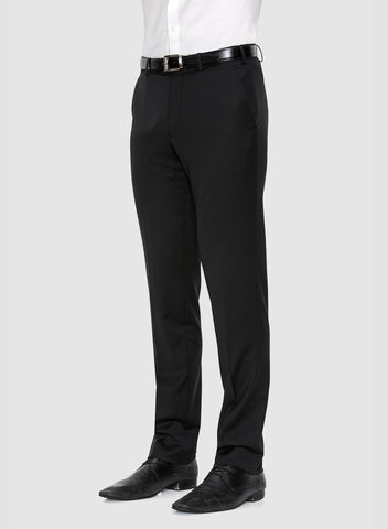 Side view of the cambridge classic fit interceptor trouser in black pure merino wool F275