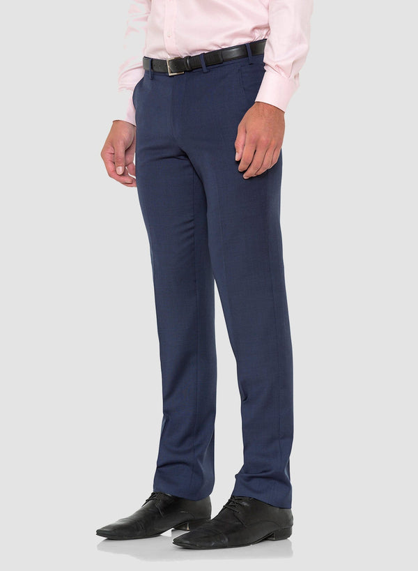 A side view of the cambridge classic fit interceptor trouser in blue pure wool FCD001