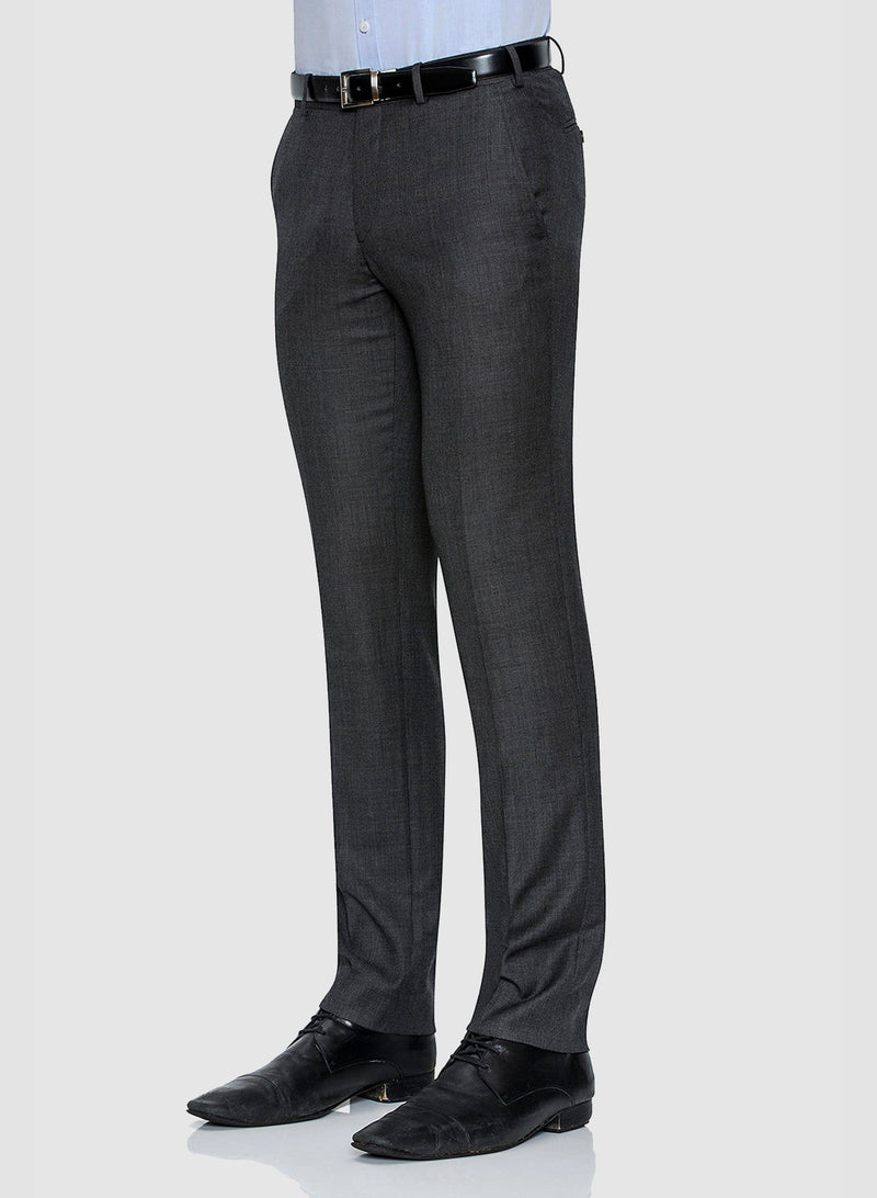 A side view of the Cambridge classic fit interceptor trouser in grey pure wool FCC076