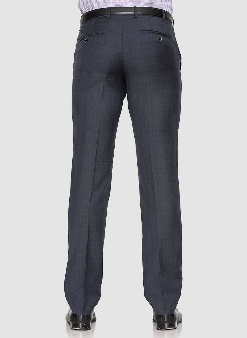 A back view of the Cambridge classic fit interceptor trouser in navy pure wool FCE481
