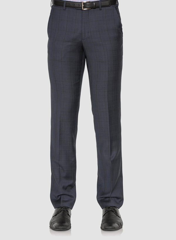 Cambridge classic fit interceptor trouser in navy pure wool FCE481 a front on view styled with a belt on a grey background