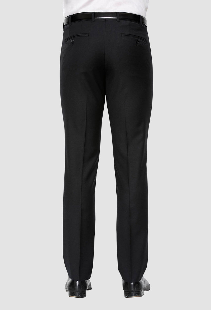 a reverse view of the cambridge jett trouser in black F262 including the rear hip pocket detailing