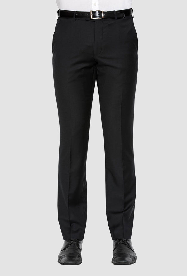 a front on view of the cambridge jett mens business trouser in black F262 back