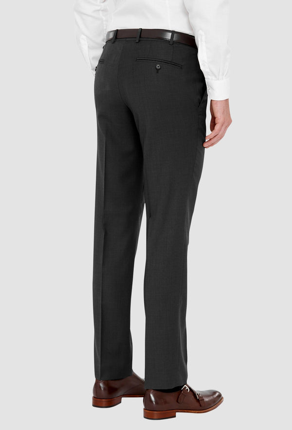 a reverse view of the cambridge mens  jett suit trouser in charcoal F2042 including the side and rear pocket detail