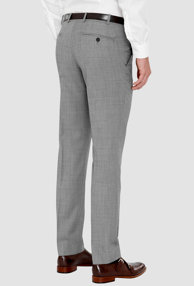 a side reverse view of the cambridge jett trouser in grey F2042 on a grey background showing the detail in the rear hip pockets