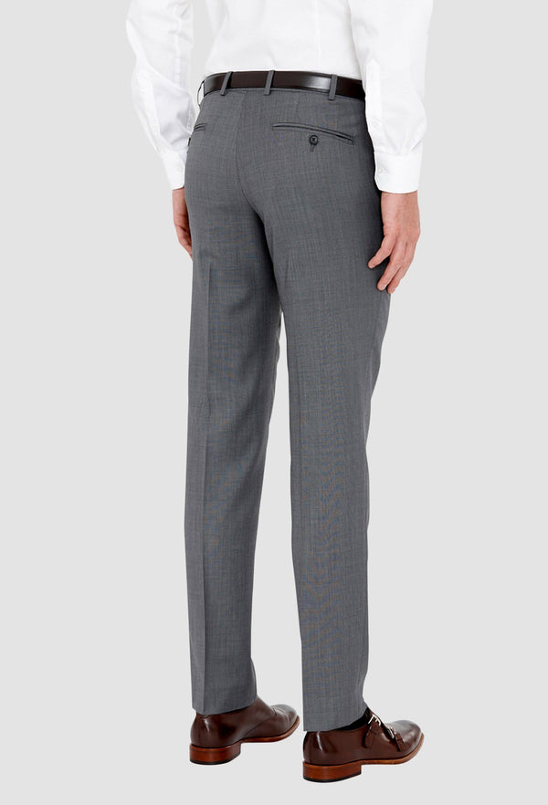 a reverse view of the cambridge jett mens suit trouser in steel grey wool blend F2042