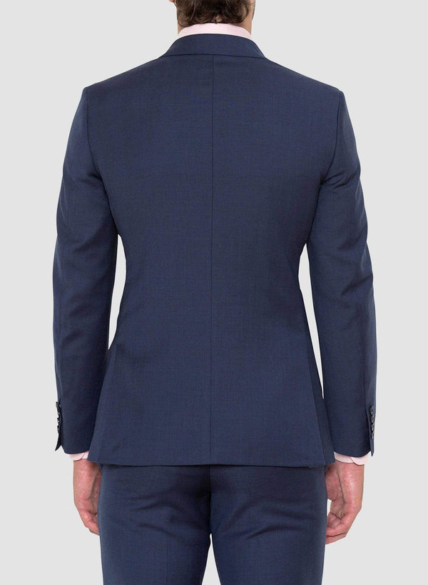 A back view of the Cambridge classic fit morse suit in blue pure wool FCD001 a front view styled with a pink shirt