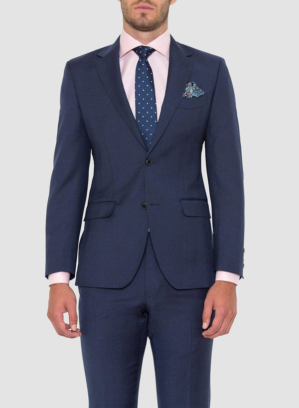 Cambridge classic fit morse suit in blue pure wool FCD001 a front view styled with a pink shirt