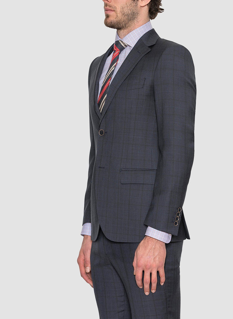 A side view of the Cambridge classic fit morse suit in navy pure wool navy FCE481 showing the straight flap pockets