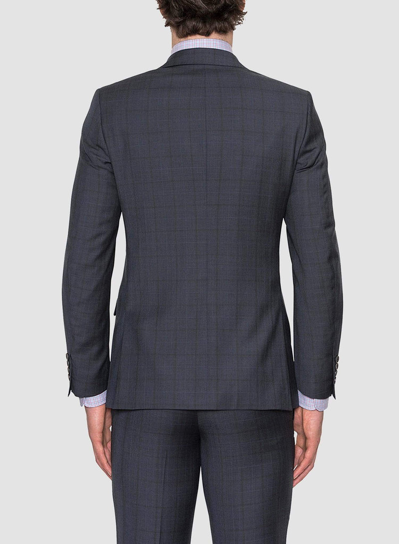 a back view of the Cambridge classic fit morse suit in navy pure wool navy