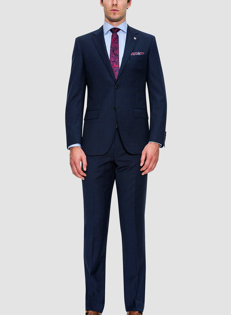 A full length picture of Cambridge classic fit interceptor trouser in navy pure wool FCF302  styled as apart of the morse suit in navy pure wool
