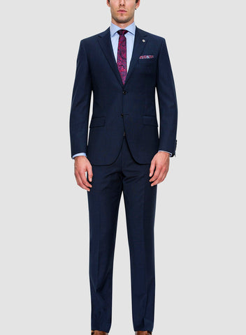Cambridge classic fit interceptro trouser in navy pure wool