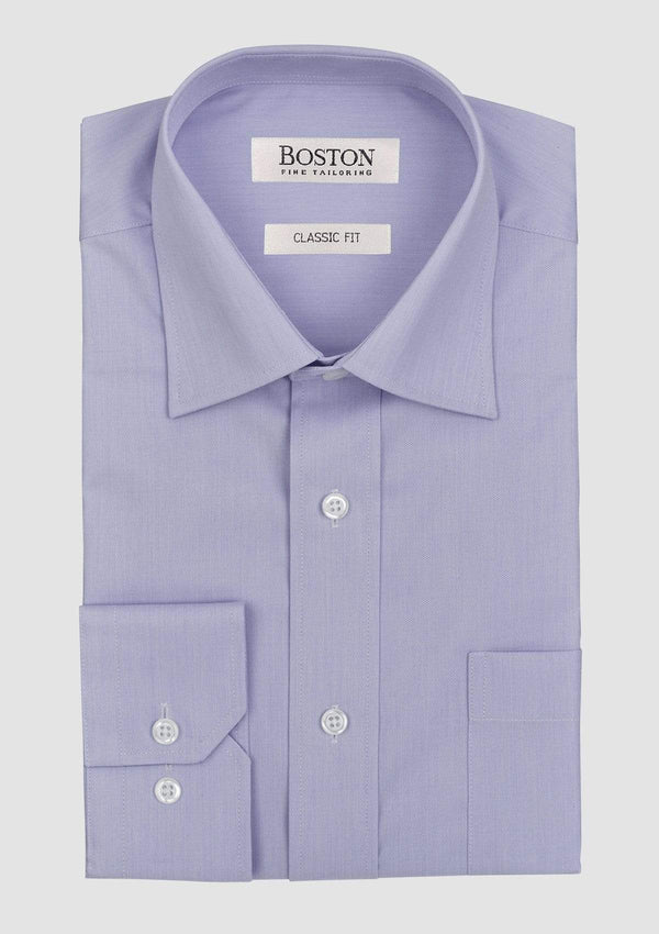 the brookes classic fit mens business shirt in mauve cotton folded on a grey background showing collar and plain cuff detail
