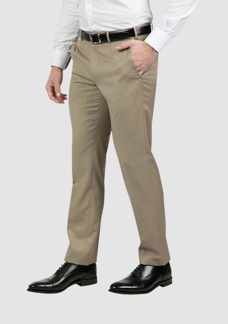 a side view of the classic fit mens jett trouser in camel FCG283