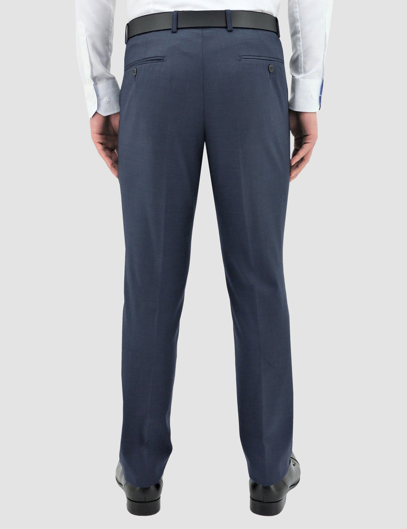 the back view of the classic fit boston lyon trouser in blue pure wool B704-14
