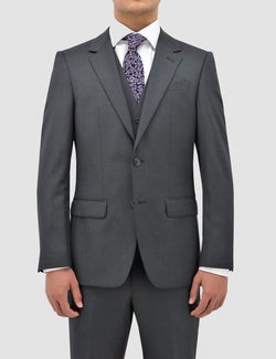 classic fit boston michel suit jacket and vest in grey pure wool B704-03