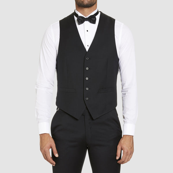 Studio Italia classic fit icon vest in black pure wool st3186-31