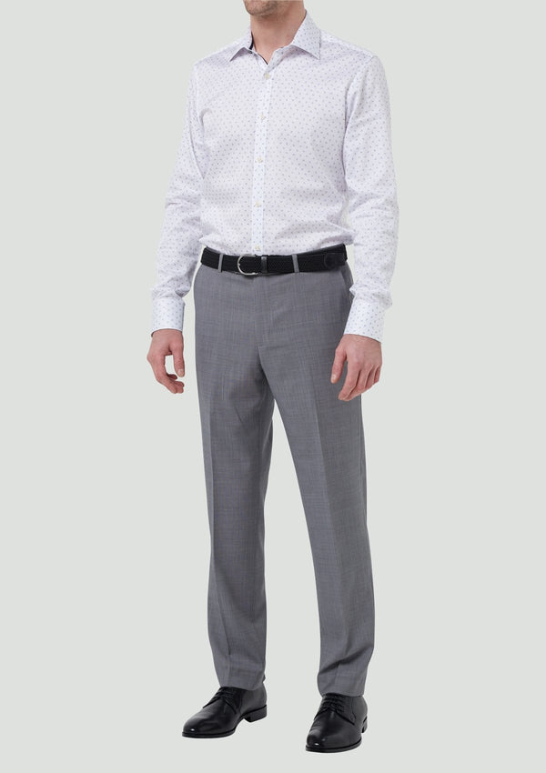 a front view of the classic fit wolf kanat mens suit trousers caviar in grey pure wool 7WK8219