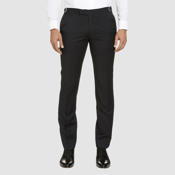 front view of the T91 studio italia trouser in black pure wool