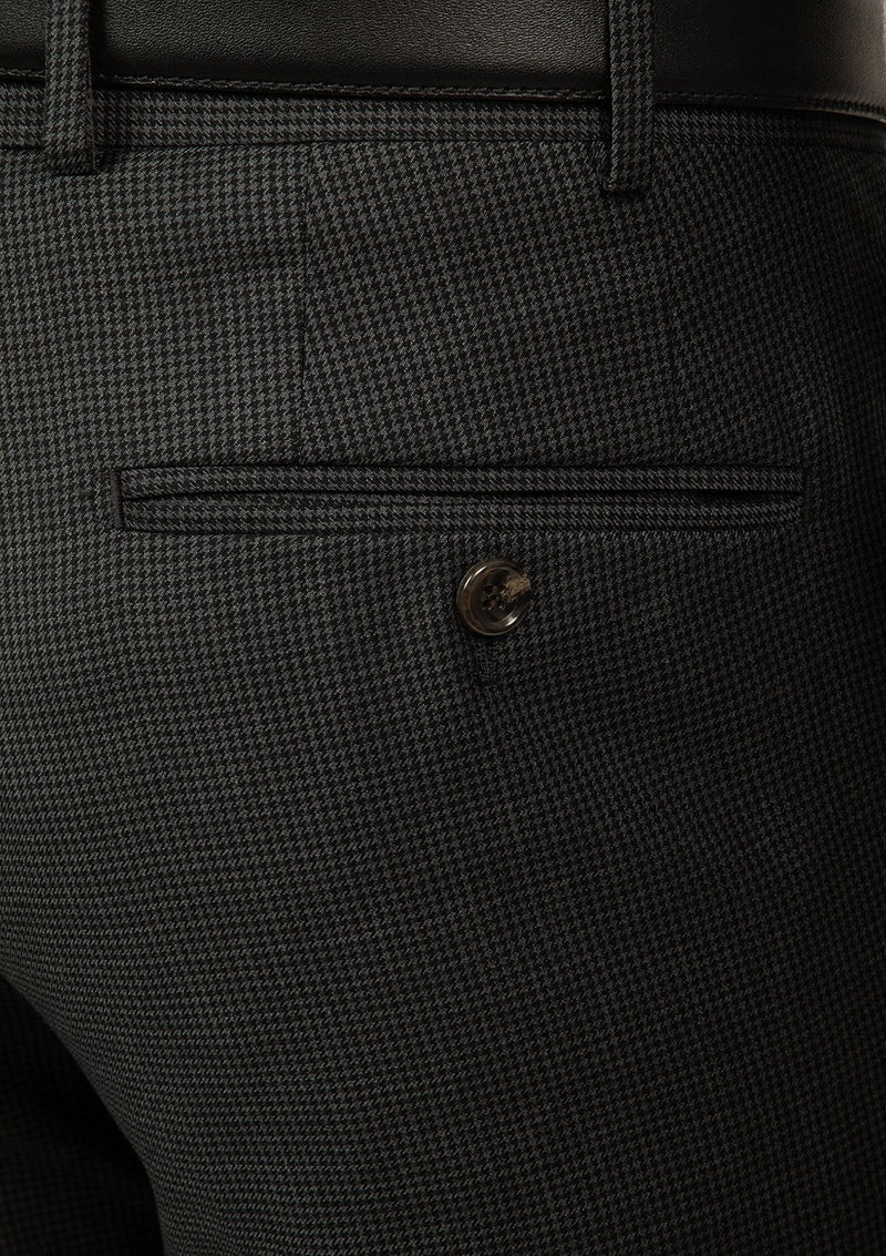 a close up view of the cambridge interceptor mens suit trouser in houndstooth charcoal pure wool