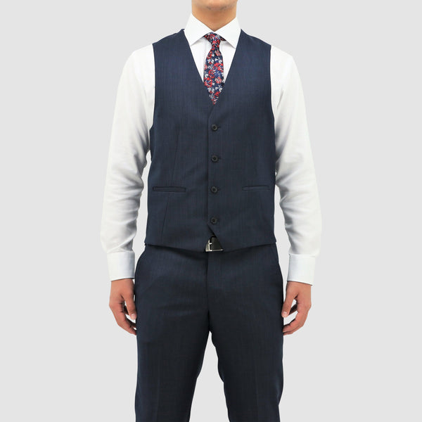 daniel hechter classic fit luke vest in blue pure wool STDH101