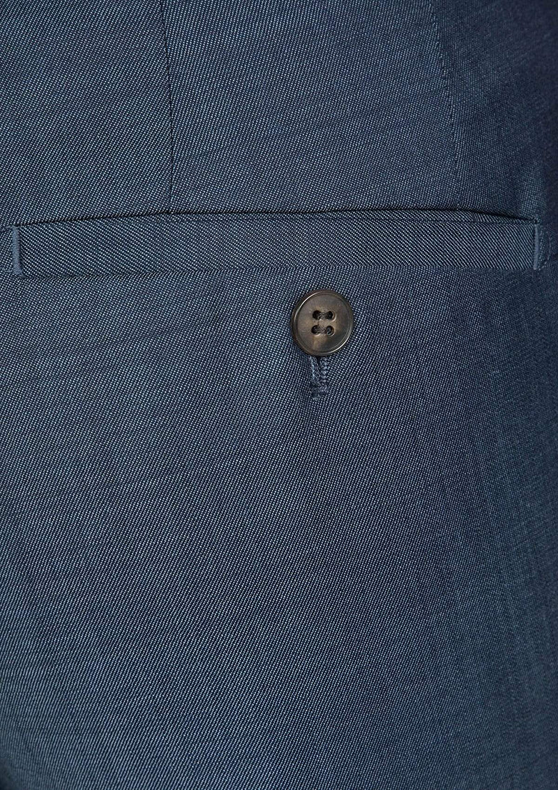 the back pocket button and detail on the gibson slim fit carper mens suit trouser in new blue wool blend FG1614