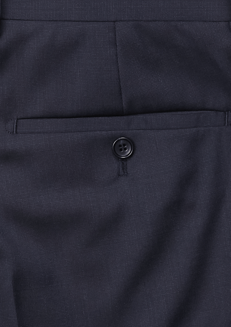 a close up of the back pocket detail on the front view of the jjeff banks stretch wool mens stretch suit trouser in navy blue wool blend K1022108
