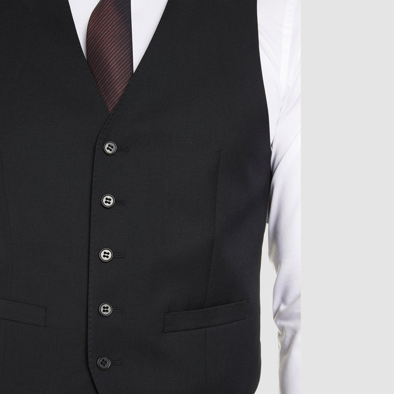 the five button front on the Studio Italia classic fit icon vest in black pure wool st3186-31