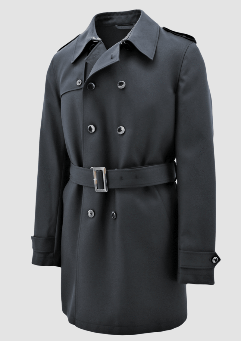 the daniel hechter slim fit mens trench coat in black on a plain background with a double buttoned front and a waist belt