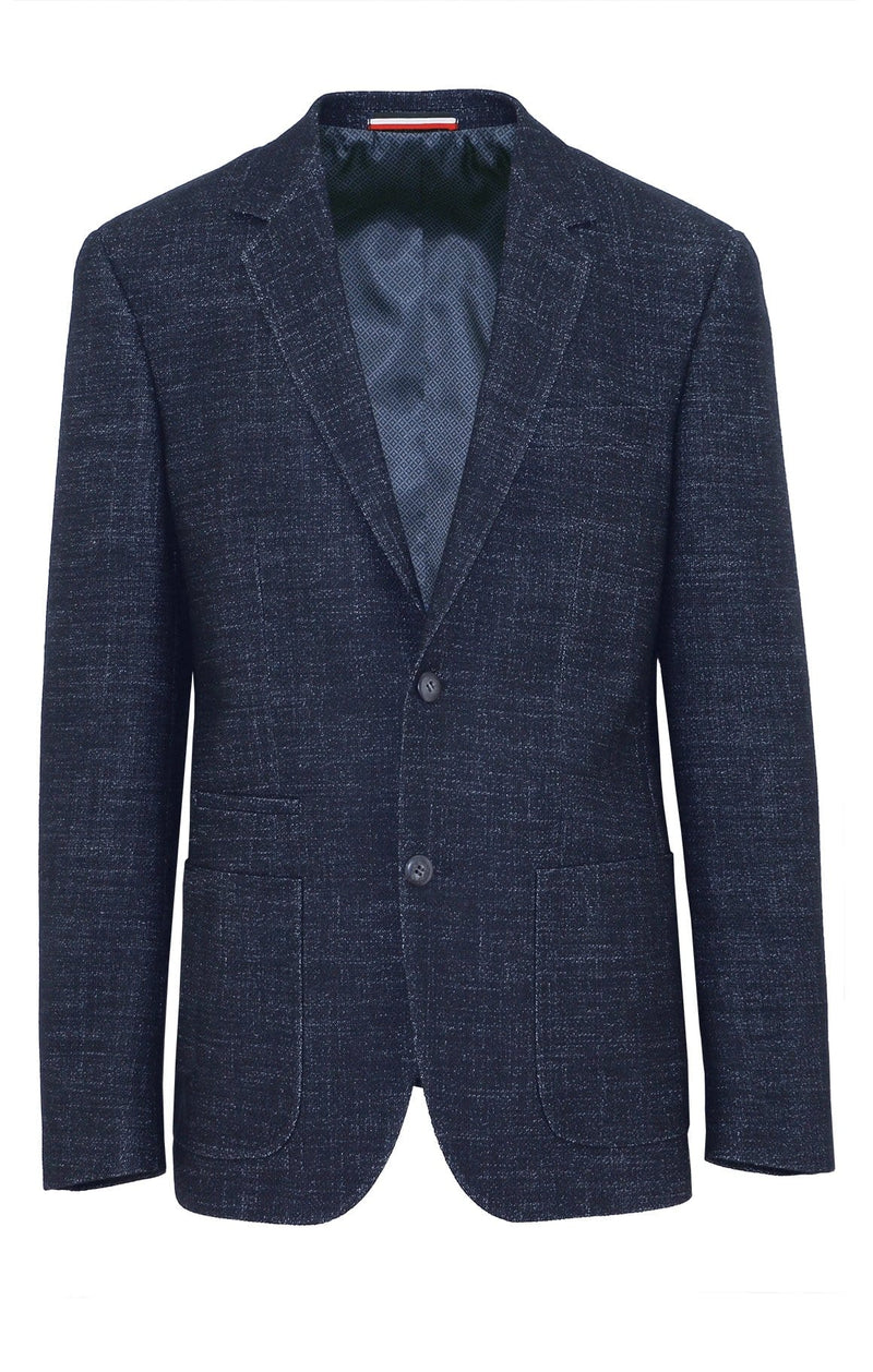 front view with no mannequin of the prague mens jacket by daniel hecter with a textured navy outer, two buttons at the front and a navy satin lining