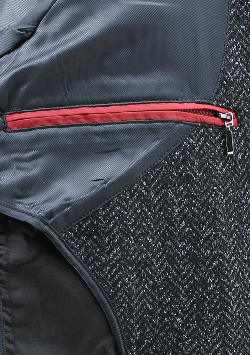 the inner hidden zip pocket of the raphael mens overcoat by daniel hechter with red trim and a silver zipper