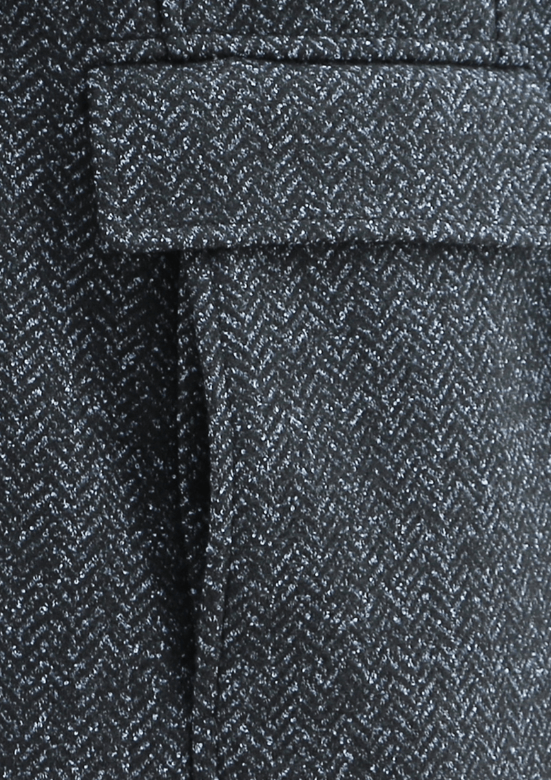a close up fo the pocket detail on the daniel hechter mens winter coat in grey wool blend showing the herringbone fabric texture