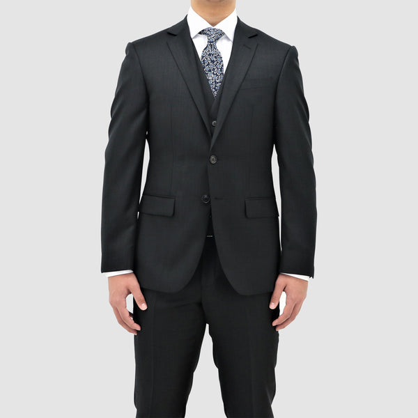 daniel hechter classic fit michel suit in black pure wool STDH101 showing the front jacket shape and lapel detail