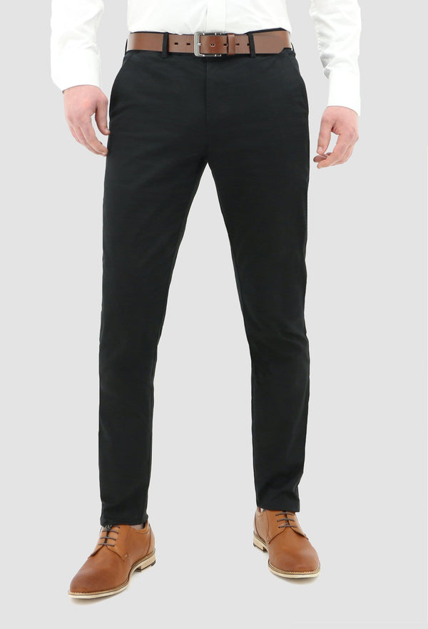 a model faces the front wearing the daniel hechter slim fit chino in black cotton blend
