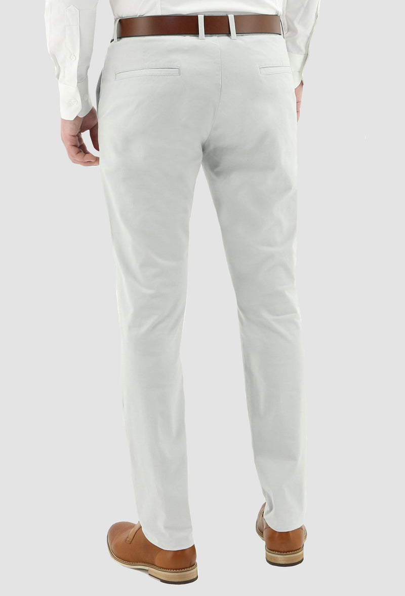 a reverse view of the daniel hechter slim fit cotton stretch chino in light grey