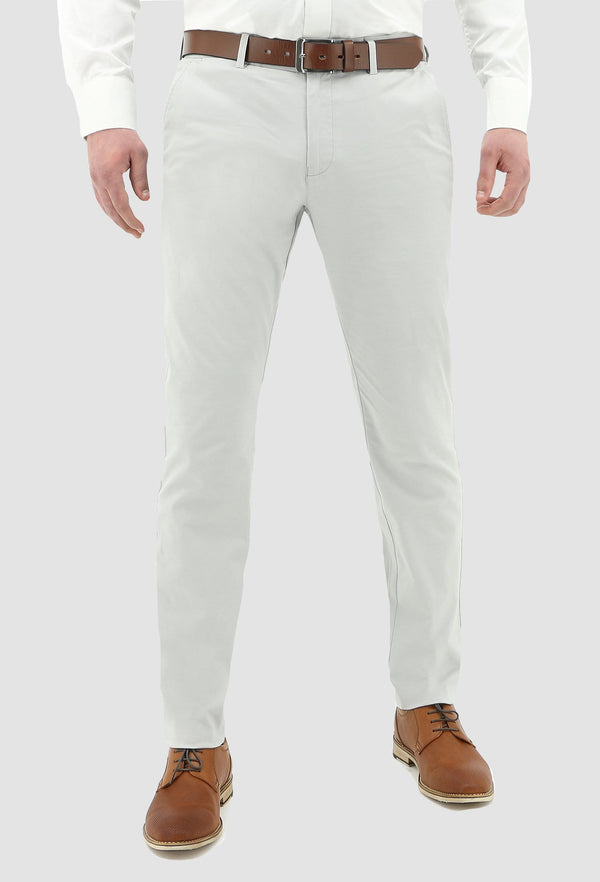 front view of the daniel hechter slim fit cotton stretch chino in light grey
