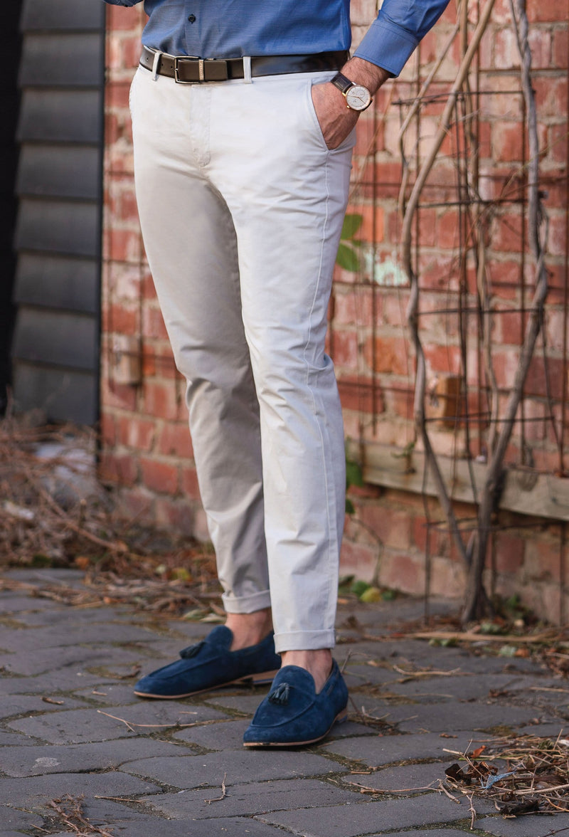 a model wears the daniel hechter slim fit cotton stretch chino in light grey