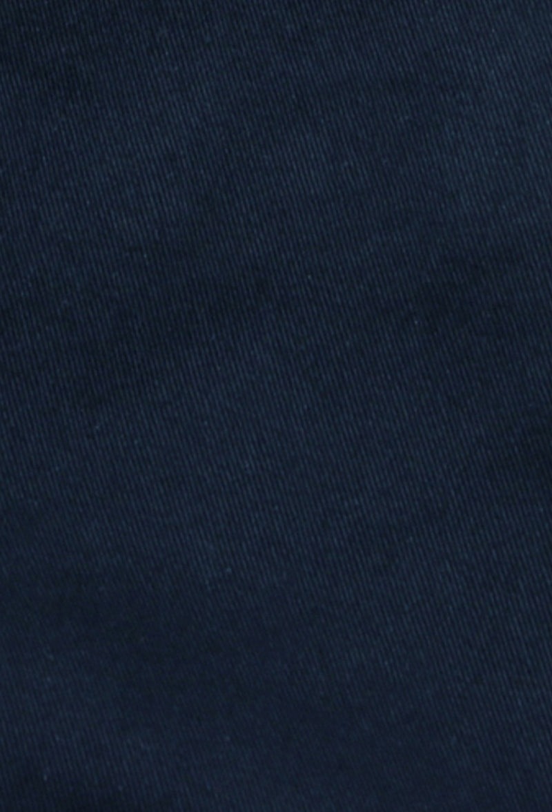 a close up view of the comfortable navy cotton stretch fabric from the daniel hechter slim fit navy chino