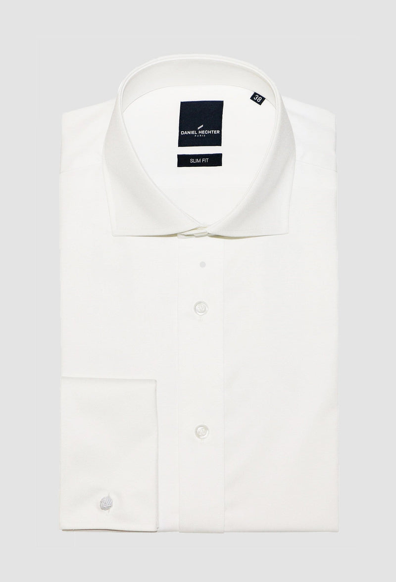 daniel hechter slim fit french cuff jacques shirt in cream cotton blend