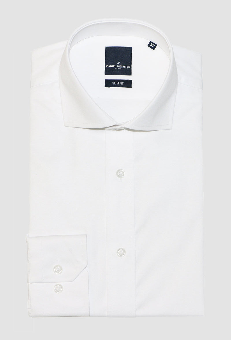 Daniel Hechter slim fit jacque business shirt in white cotton blend