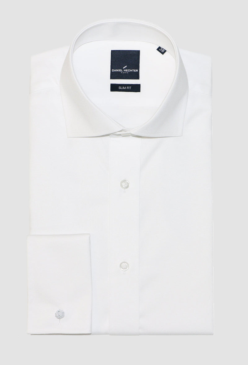 daniel hechter slim fit french cuff jacques shirt in white cotton blend