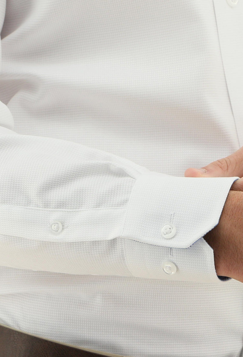 the plain cuff detailing on the daniel hechter slim fit jacques mens business shirt in white pure cotton