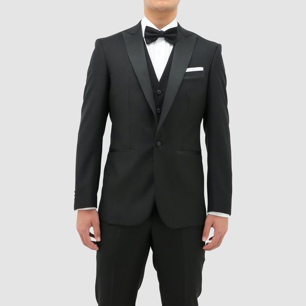Daniel Hechter slim fit jason tuxedo suit in black pure wool with satin peak lapel STDH106-01