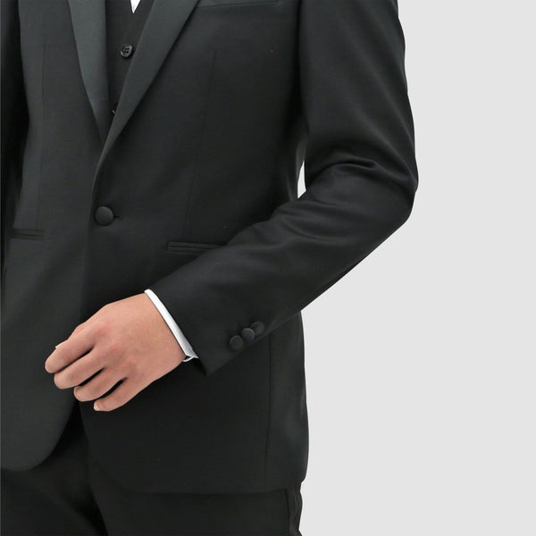 Daniel Hechter slim fit jason tuxedo suit in black pure wool STDH106-01