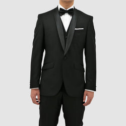 Daniel Hechter slim fit manta shawl lapel tuxedo suit in black pure wool