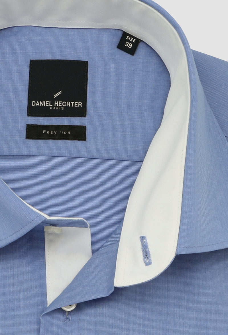 a close up of the collar detail on the Daniel Hechter slim fit french cuff shirt in blue pure cotton
