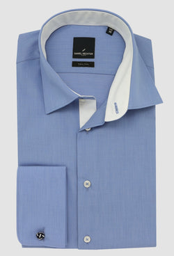 Daniel Hechter slim fit french cuff shirt in blue pure cotton