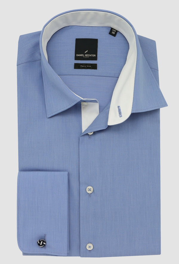 Daniel Hechter slim fit french cuff mens business shirt in blue pure cotton