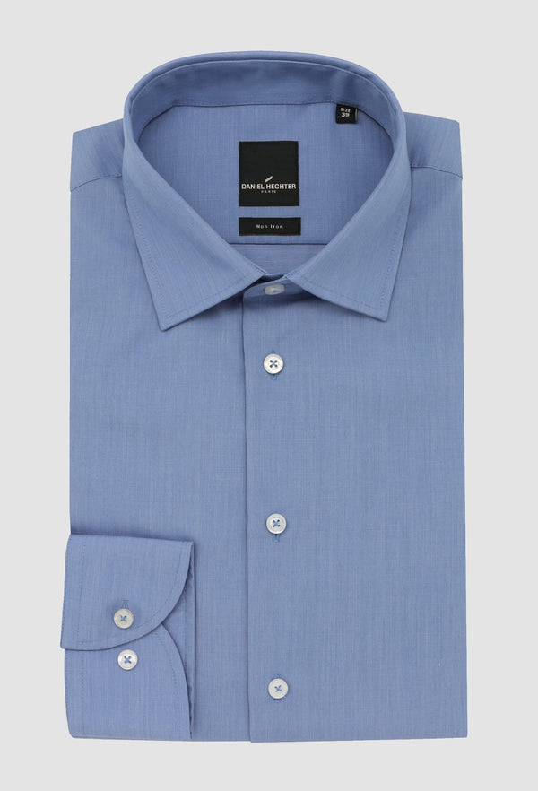 Daniel Hechter slim fit shape business shirt in blue pure cotton